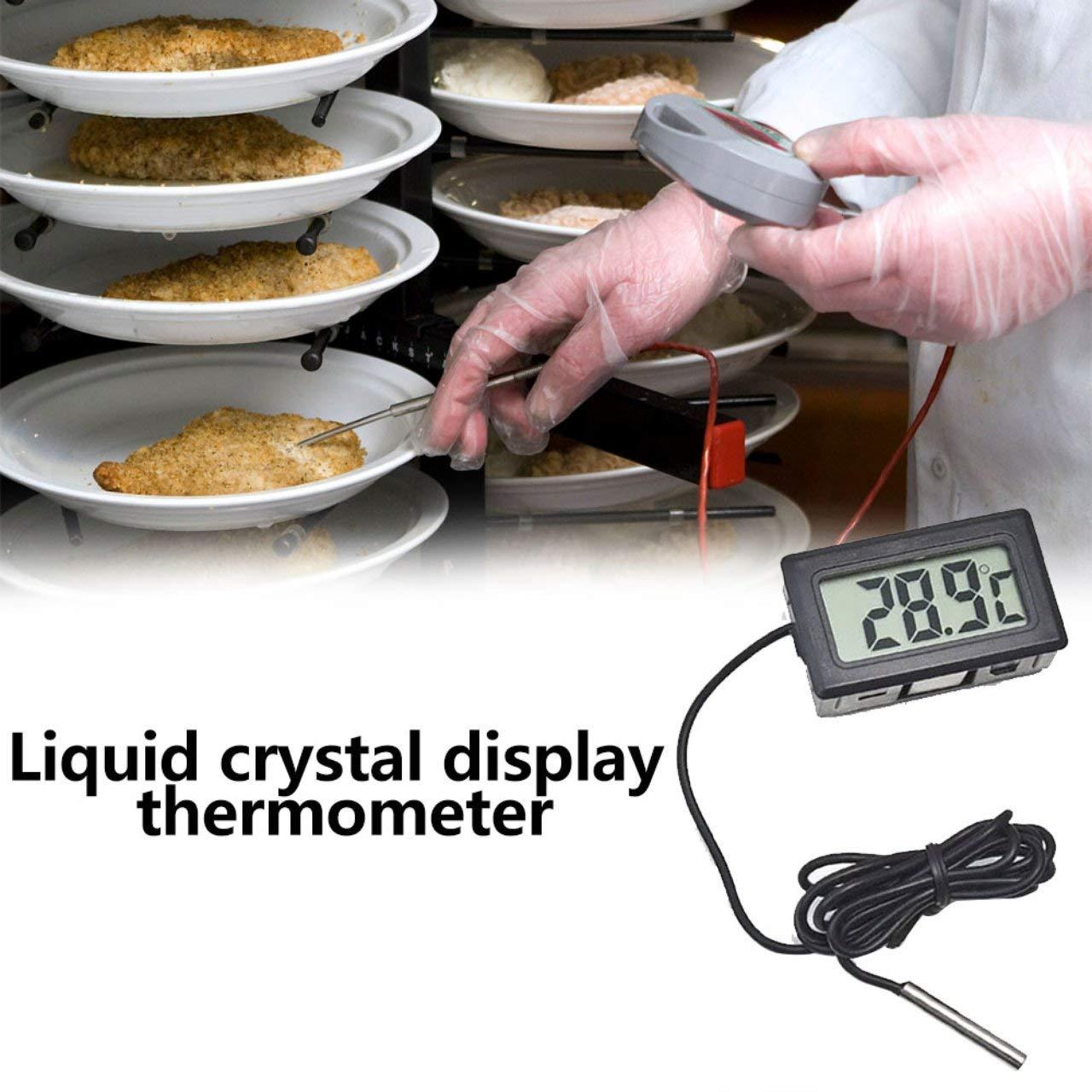 Jasnyfall Termometro per Auto Ornamenti per Auto Display LCD Orologio Digitale Misuratore di Temperatura per Auto-Styling per Frigorifero per acquari Nero