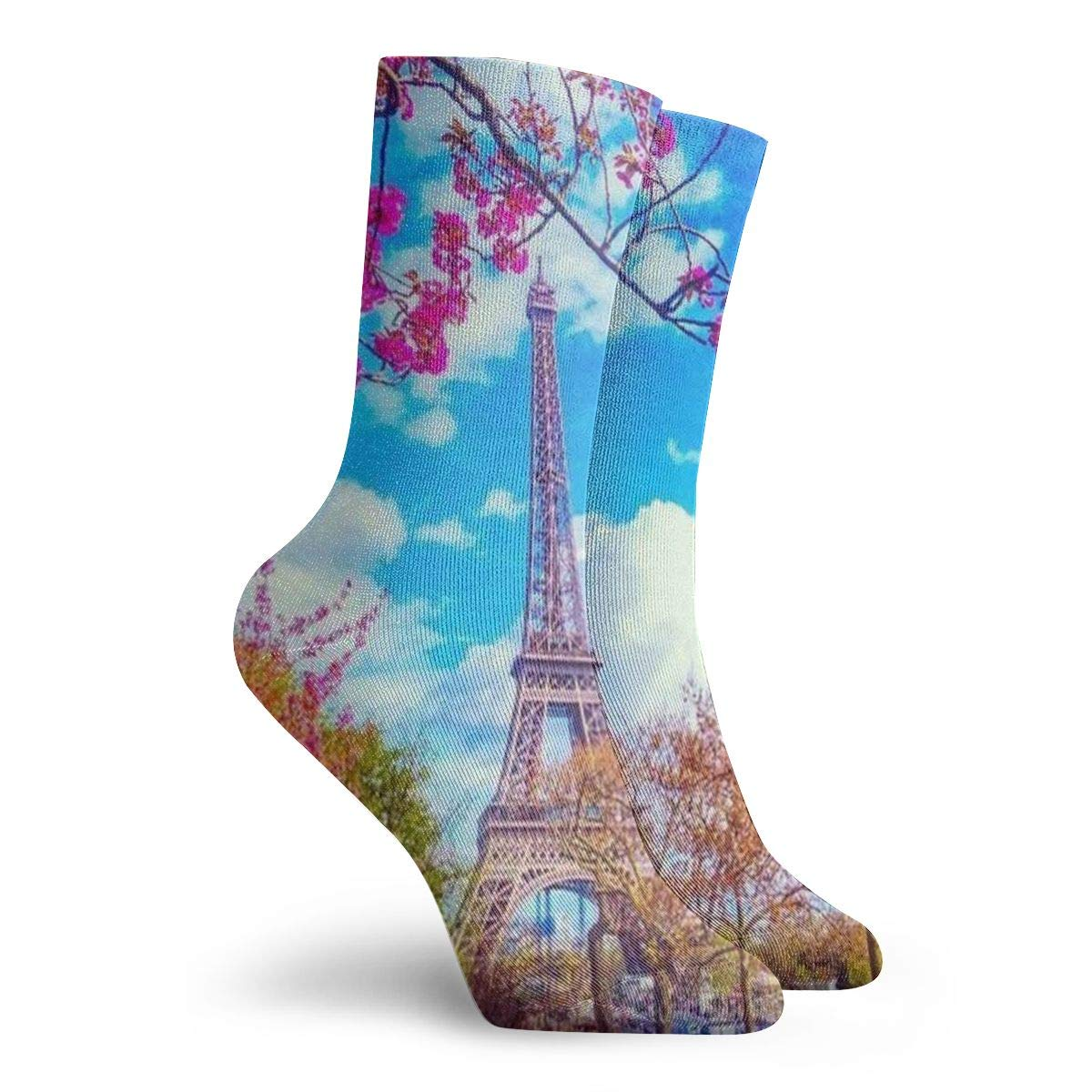 WEEDKEYCAT France Tower Pink Flower Tree Adult Short Socks Cotton Classic Socks for Mens Womens Yoga Hiking Cycling Running Soccer Sports