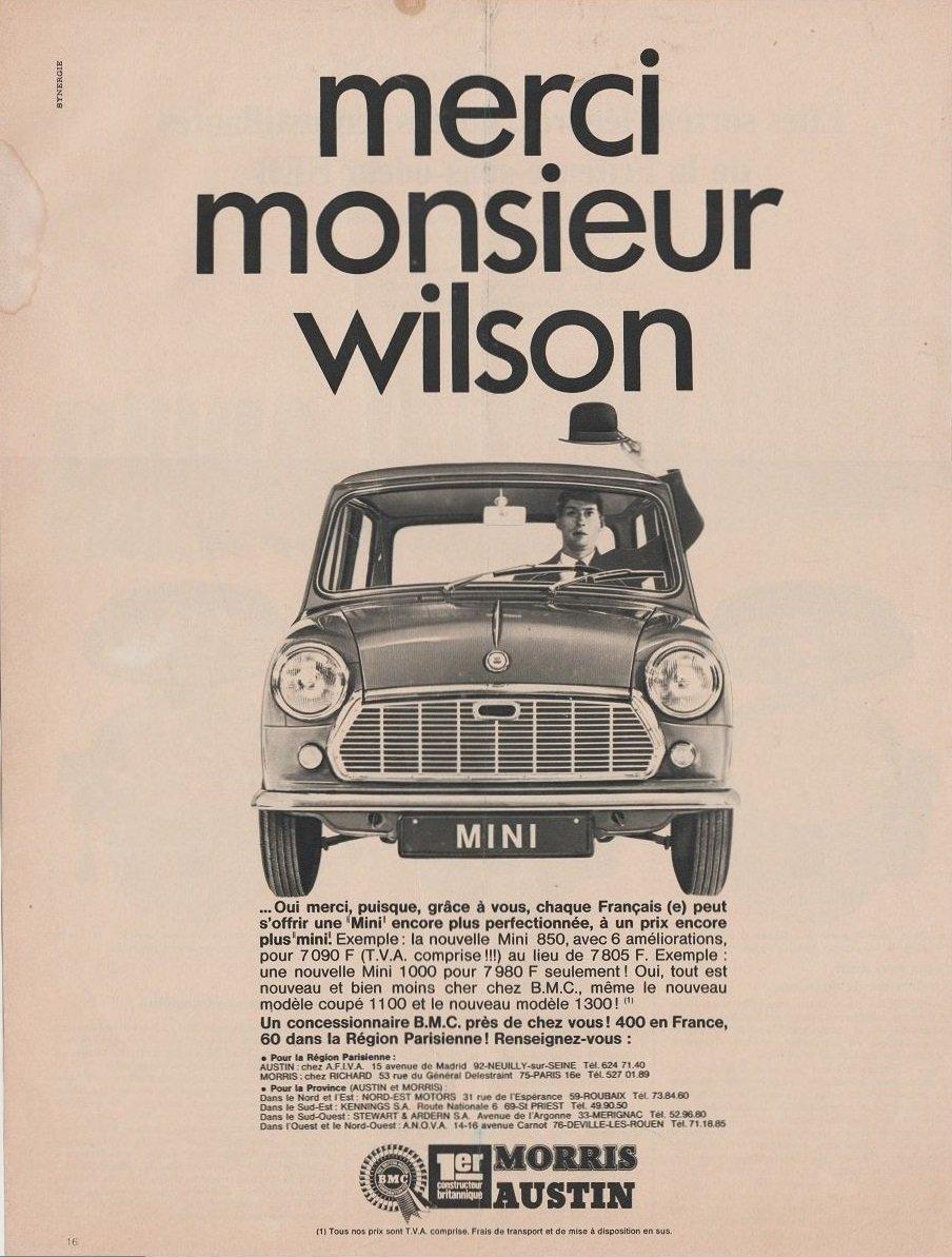 Amazoncom 1968 Bmc Mini Austin Morris Merci Monsieur Wilson