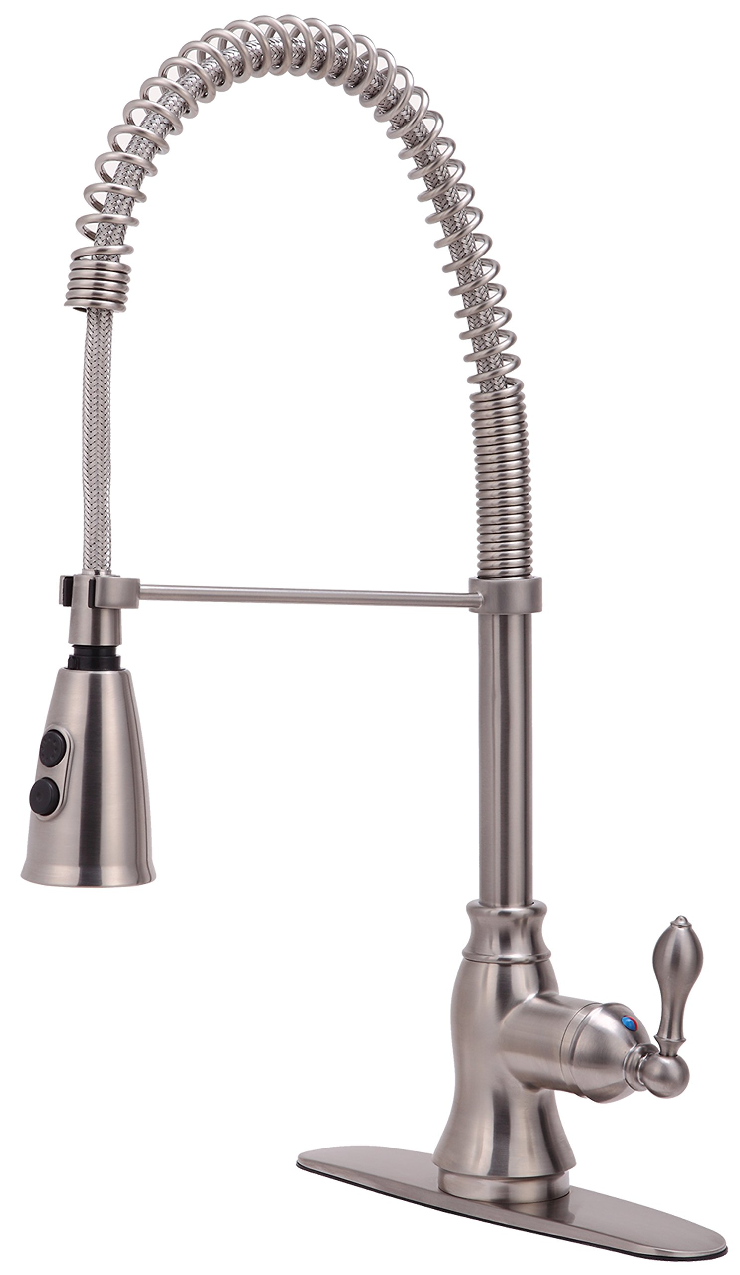 Derengge KF-5988-SS Single Handle Spring Spout Kitchen Faucet with Pull-Down Sprayer, 1 Hole or 3 Hole Installation, Meets cUPC NSF61-9 and AB1953 Lead Free Standard, Stainless Steel