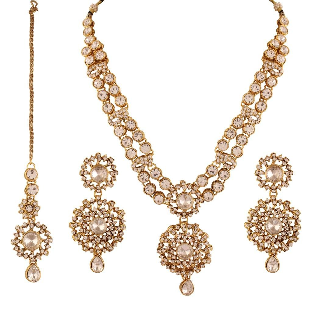 I Jewels Women's Traditional Gold Plated Kundan Necklace Set Maang Tikka White Isha Creation IJ202W