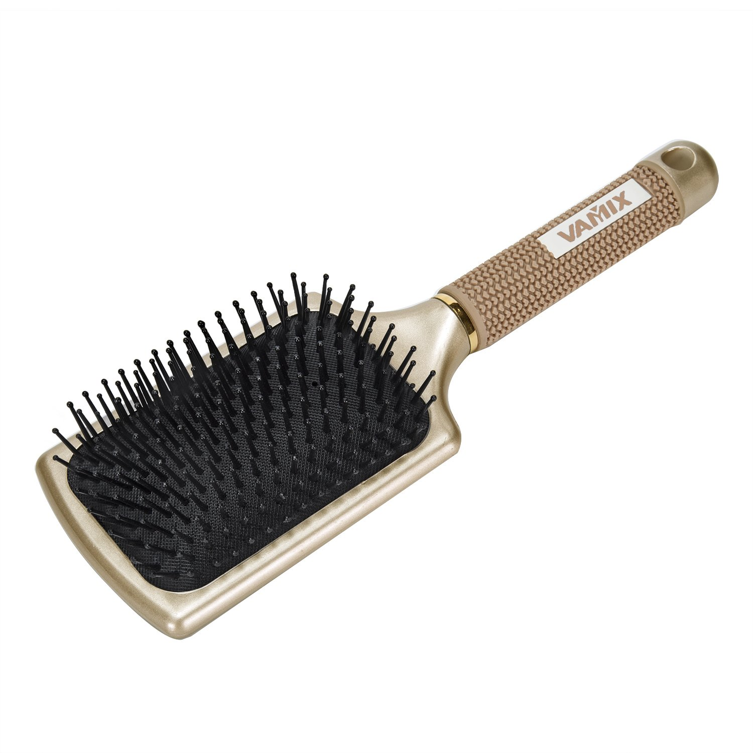 VAMIX Velvet Touch Paddle Hair Brush for Men Women & Kids, Detangling Brush for Straightening & Smoothing Hair(GOLD)