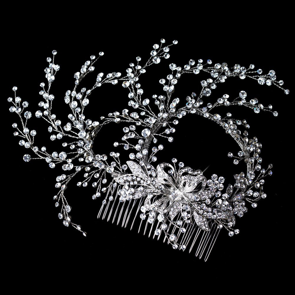 Karina Rhinestone Rhodium Hand Wired Twigs Ribbon Wedding Bridal Hair Comb