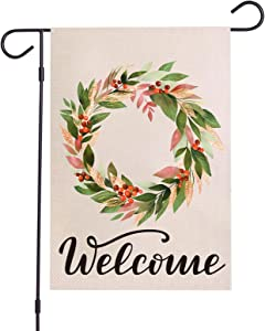 Wreath Welcome Garden Flag for Outside 12.5 x 18.5 Inch Double Sided Autumn Garden Flags Yard Outdoor Indoor Decor