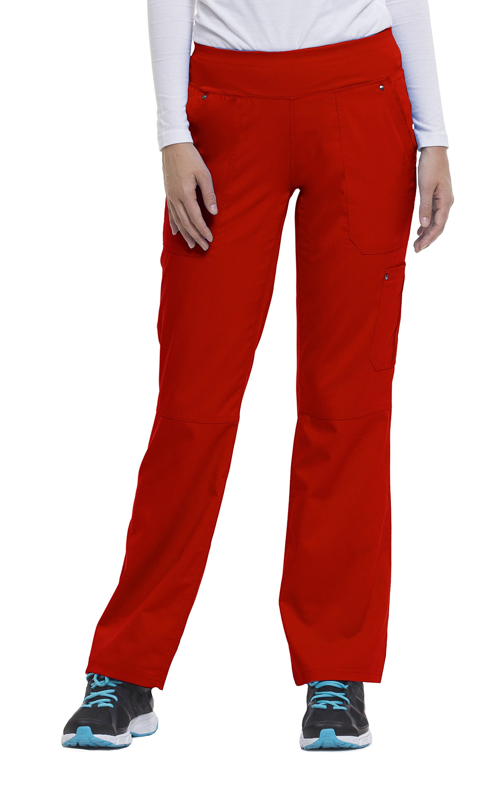 Healing Hands Purple Label Yoga Women's Tori 9133 5 Pocket Knit Waist Pant Scrubs- Red- Large Petite
