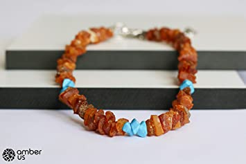 Baltic Amber Collar For Dogs and Cats with Adjustable Metal Chain 30-35 cm Made from Natural Raw Amber Anti Ticks and Fleas Amber Necklace