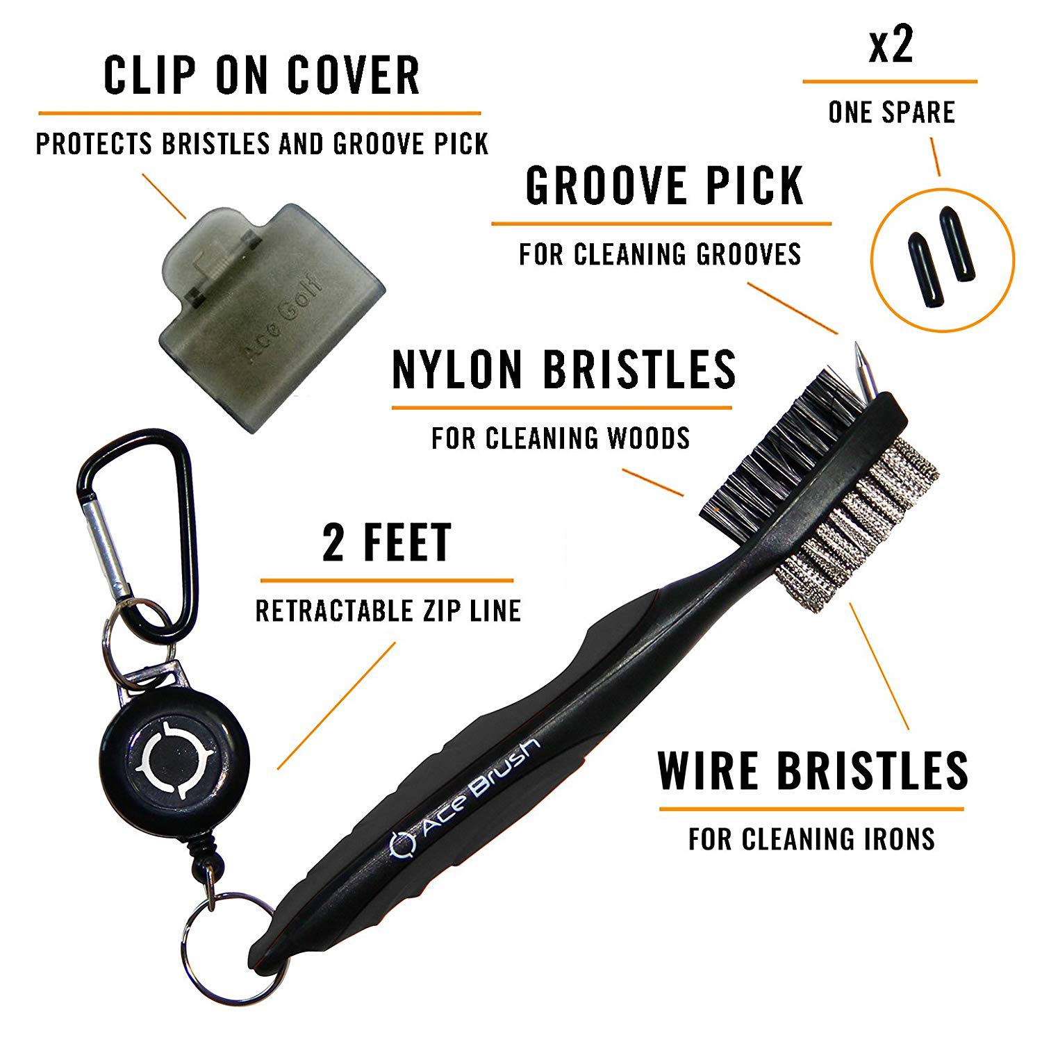 Golf Brush and Club Groove Cleaner (Black) by Ace Golf (Image #2)