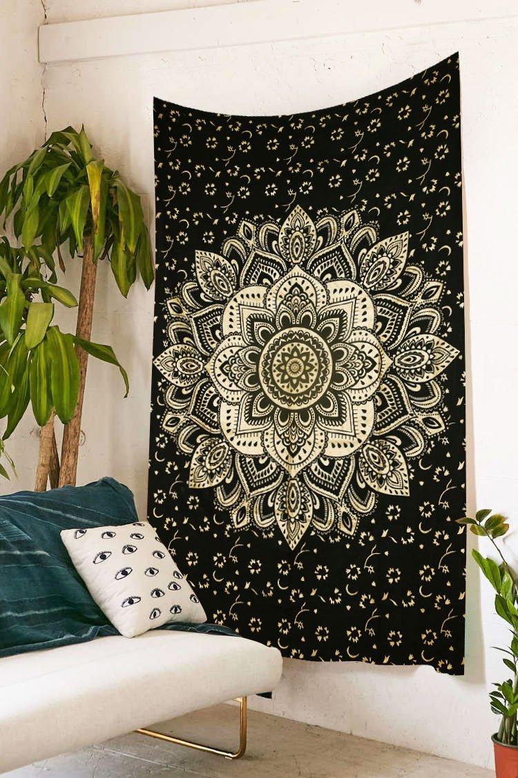 Future Handmade - Arazzo in stile indiano, realizzato a mano con stampa di elefante in bianco e nero, decorazione murale per la casa o telo da spiaggia, utilizzabile anche come copri-letto, 100% cotone, 100% Cotone, Multi, DESIGN 1