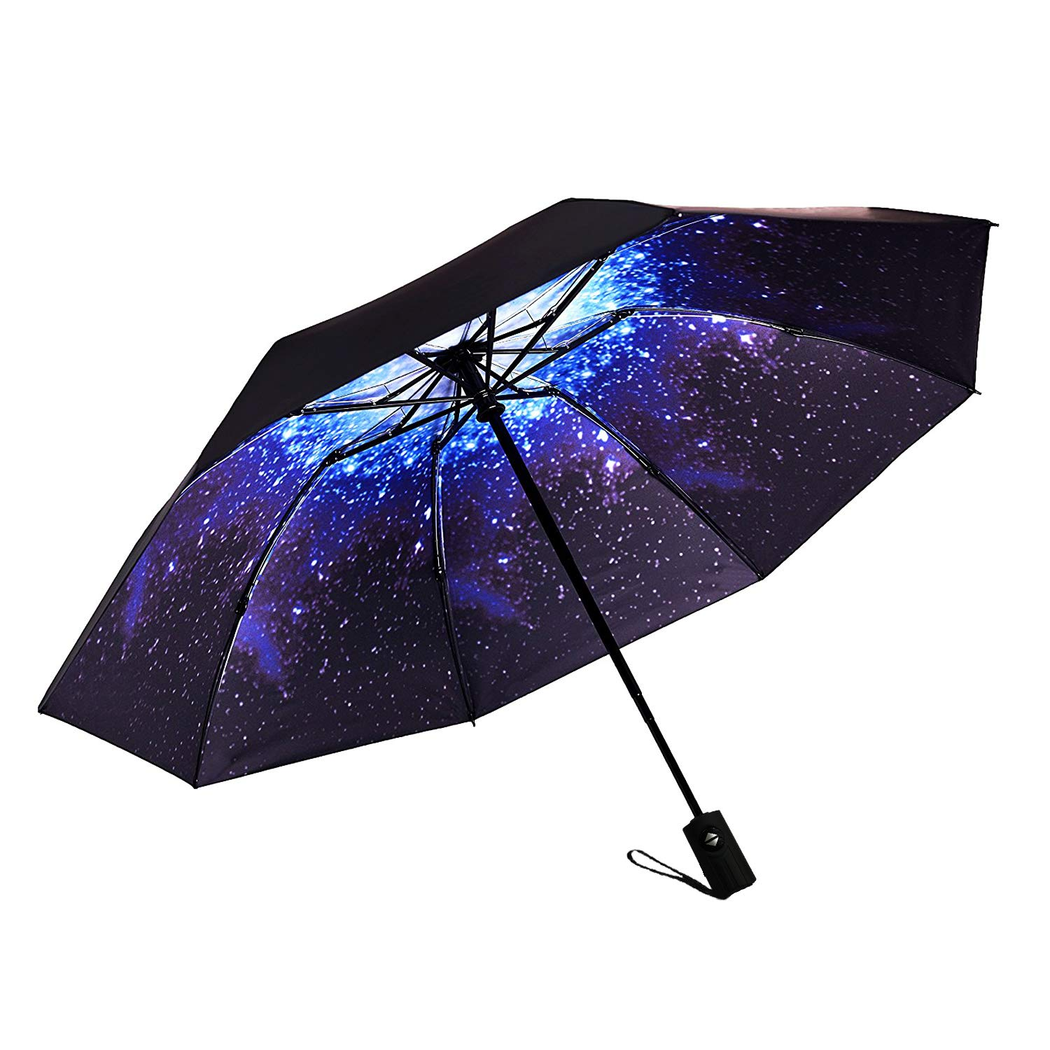 b07df4609543d Amazon.com: Marriarics Travel Umbrella Windproof, Black Glue Anti UV  Coating, Compact Folding Umbrellas for Women Men, Auto Open Close (Starry  Sky): ...