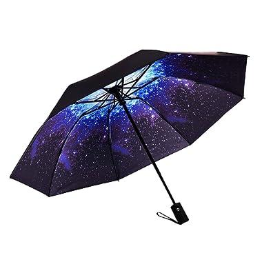 Marriarics Travel Umbrella Windproof, Black Glue, A3-Starry Sky, Size One_Size
