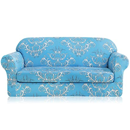 TIKAMI 2-Piece Sofa Slipcovers Printed Floral Stretch Spandex Couch Covers  Washable Furniture Protector for Living Room(Sofa,Blue)