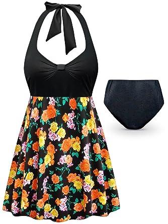 76c74de1c5e Black w/Orange & Yellow Roses 2PC Halter Style Plus Size Supersize Swimdress  0x
