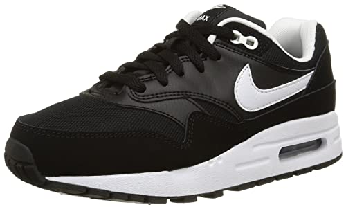 Nike Youths Air Max 1 Black White Leather Trainers 36 EU 48392921a60