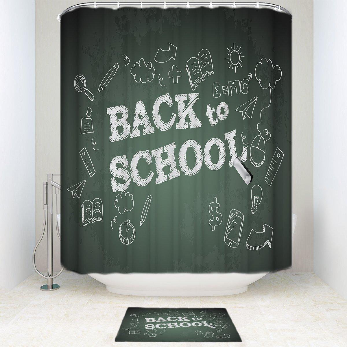 EZON-CH Waterproof Modern Good Mildew Resistance Back School Day Blackboard Polyester Farbic Bathroom Shower Set Shower Curatin With Doormat Rugs(Shower Curtain36x72in)