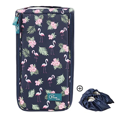 Tuscall Bolsas para Zapatos Portátiles Bolsa de Almacenamiento de Zapatos Viaje Impermeable con Cremallera Accesorios de Viaje para Mujeres (Flamingo) 0eCwd