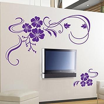 Bon Stylish Modern Flower Wall Stickers Vinyl Art Decals   Purple