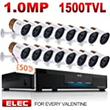 ELEC 16CH 960H HDMI DVR Security Camera System Home CCTV Alarm Video Recorder Surveillance Kit, IR-CUT Night Vision 16PCS 1500TVL Bullet Cameras,Mobile Remote Access/Live Viewing,NO Hard Drive