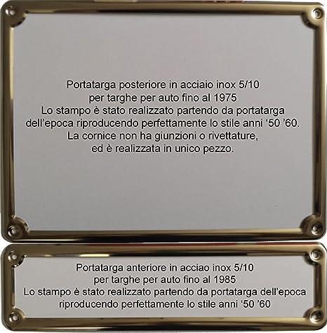 Coppia Portatarga Cornice IN ACCIAIO INOX per targhe depoca storiche fino 1975