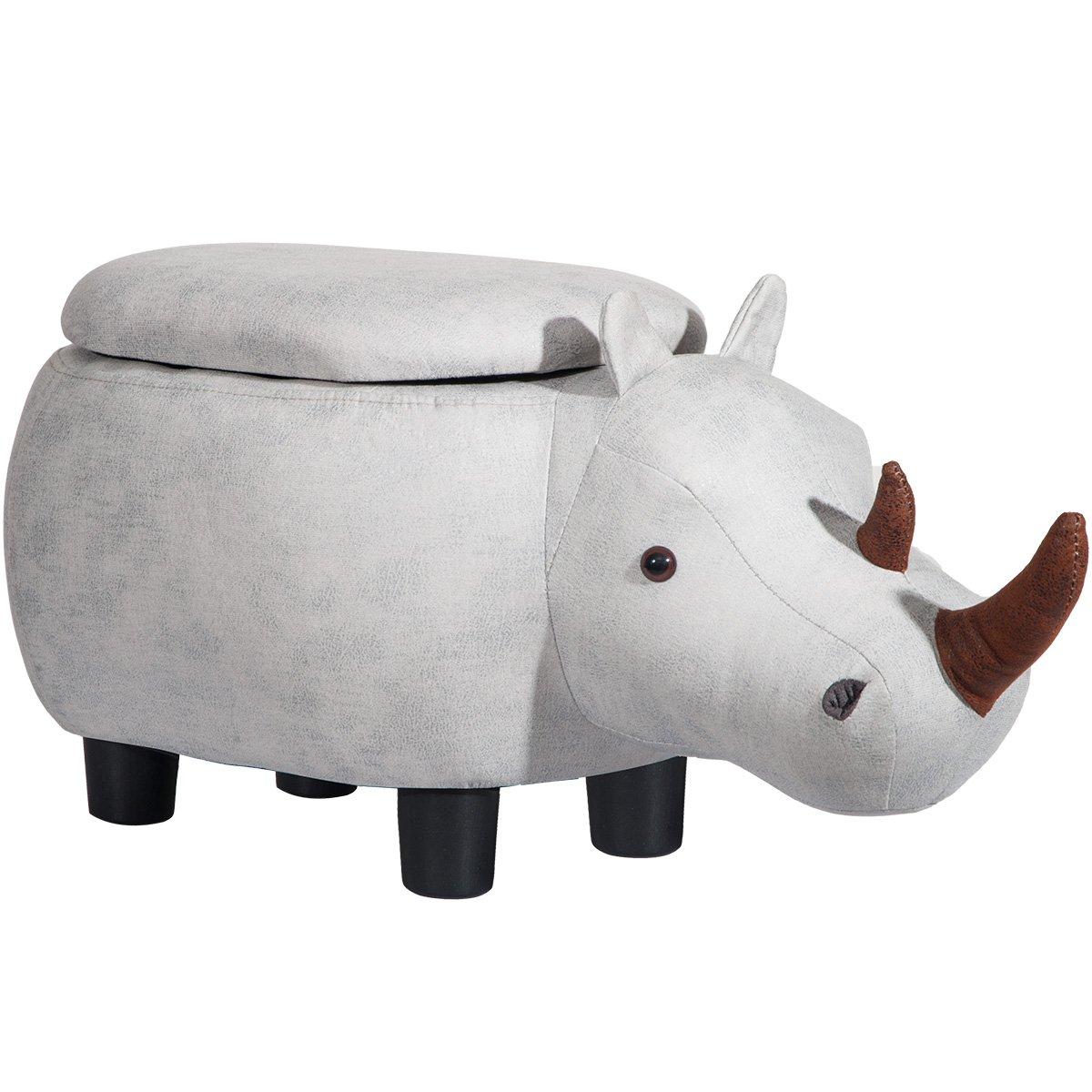 Merax Fun Fair Ride-on Storage Ottoman Footrest Stool with Animal Shape, Gray Rhinoceros