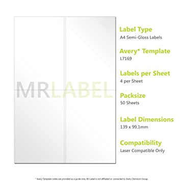 avery compatible a4 self adhesive semi gloss labels l7169 50