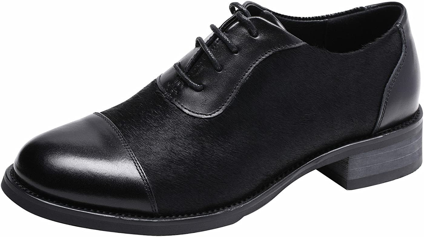 Ulite Womens Pieced Cowhide Leather Upper, Lace Up Comfort Oxford Shoes,Featuring Soft Hony Hair at Vamp