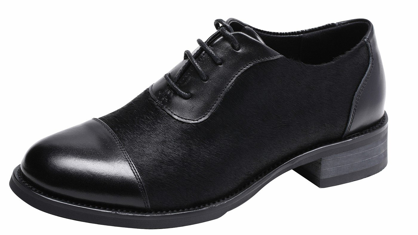 Ladies Pieced Cowhide Leather Upper, Lace up Comfort Oxford Shoes, Soft Hony Hair Special Black8.5