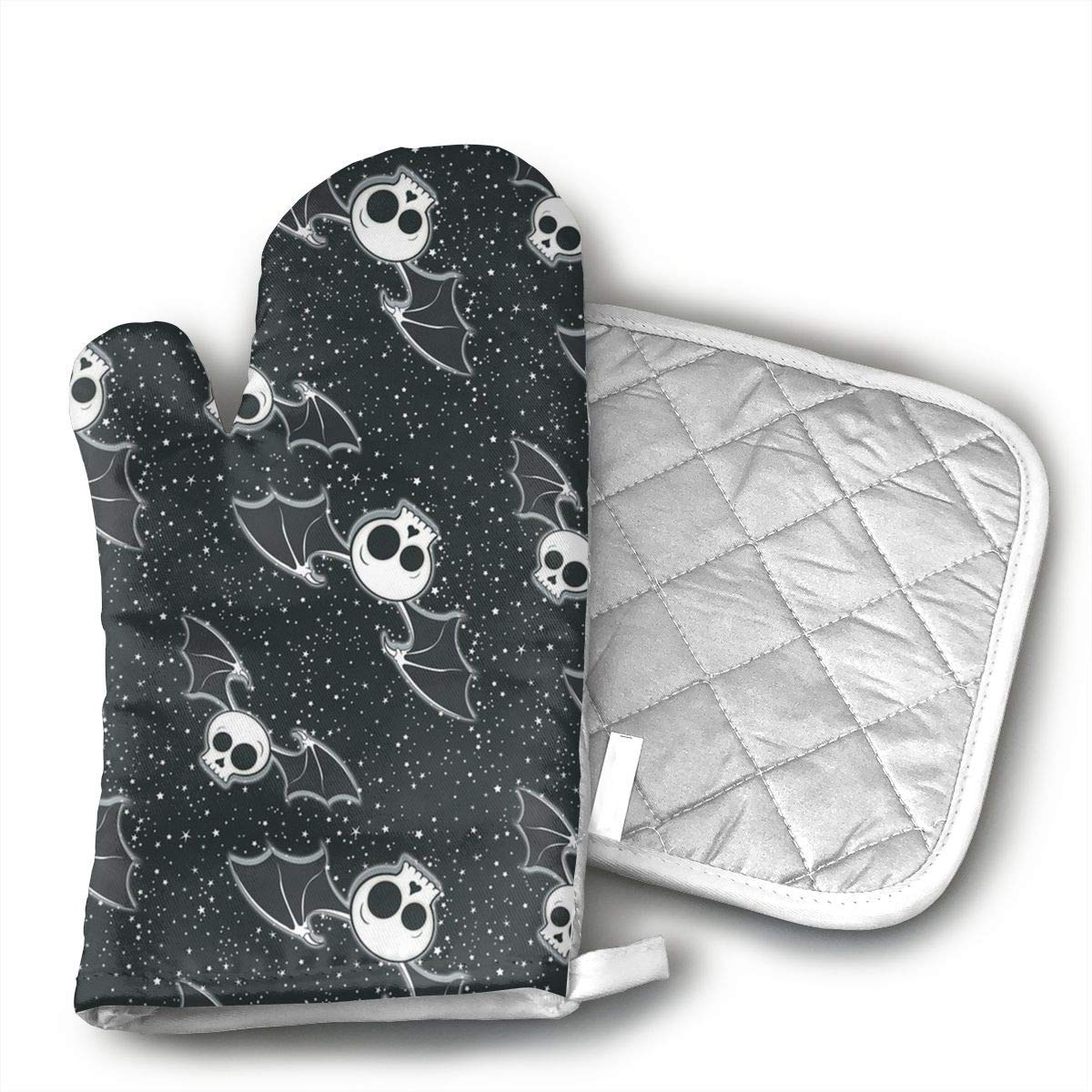 Klnsha7 Halloween Skulls Bat Oven Hot Mitts Professional Heat Resistant Pot Holder & Baking Gloves