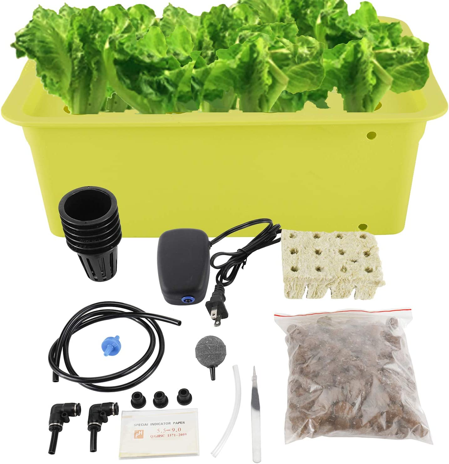 HighFree Hydroponic System Growing Kit for Plants Herb Garden Starter Set 11 Sites DIY Self Watering Indoor Hydroponics Tools with Large Bubble Stone Rockwool Bucket Air Pump