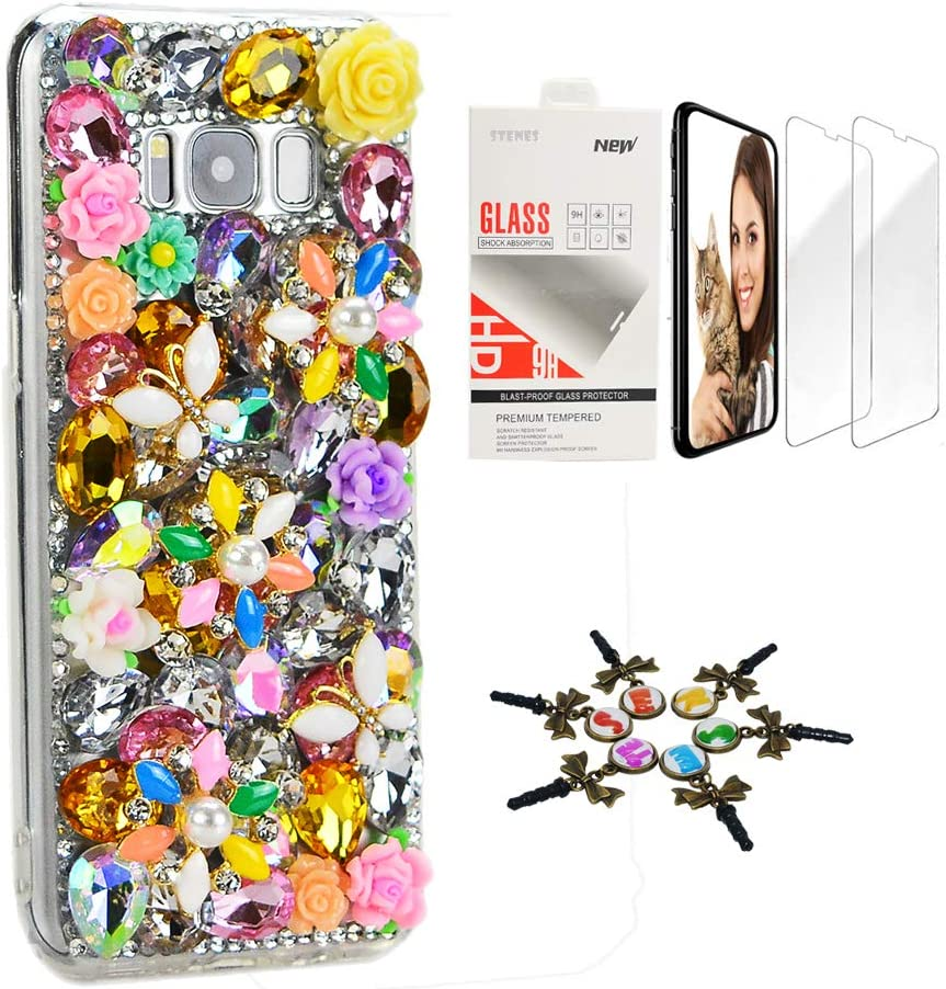 STENES Sparkle Case Compatible with Samsung Galaxy J2 Prime - Stylish - 3D Handmade Bling Butterfly Rose Flowers Design Cover Case with Screen Protector [2 Pack] - Yellow