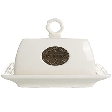 LA JOLIE MUSE Butter Dish with Lid Handle Cover, 6.9 Inch Ceramic Keeper, Cream White
