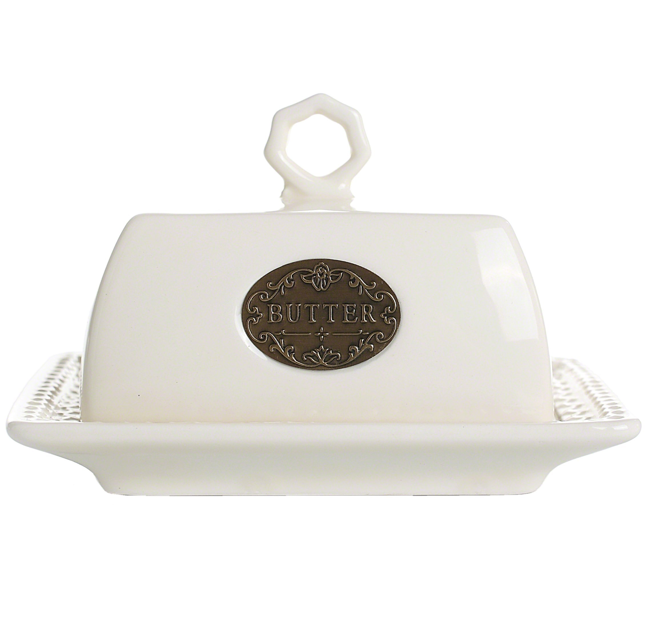 LA JOLIE MUSE Vintage Butter Dish with Lid Handle Cover, 6.9 Inch Ceramic Keeper, Larger New Version,White