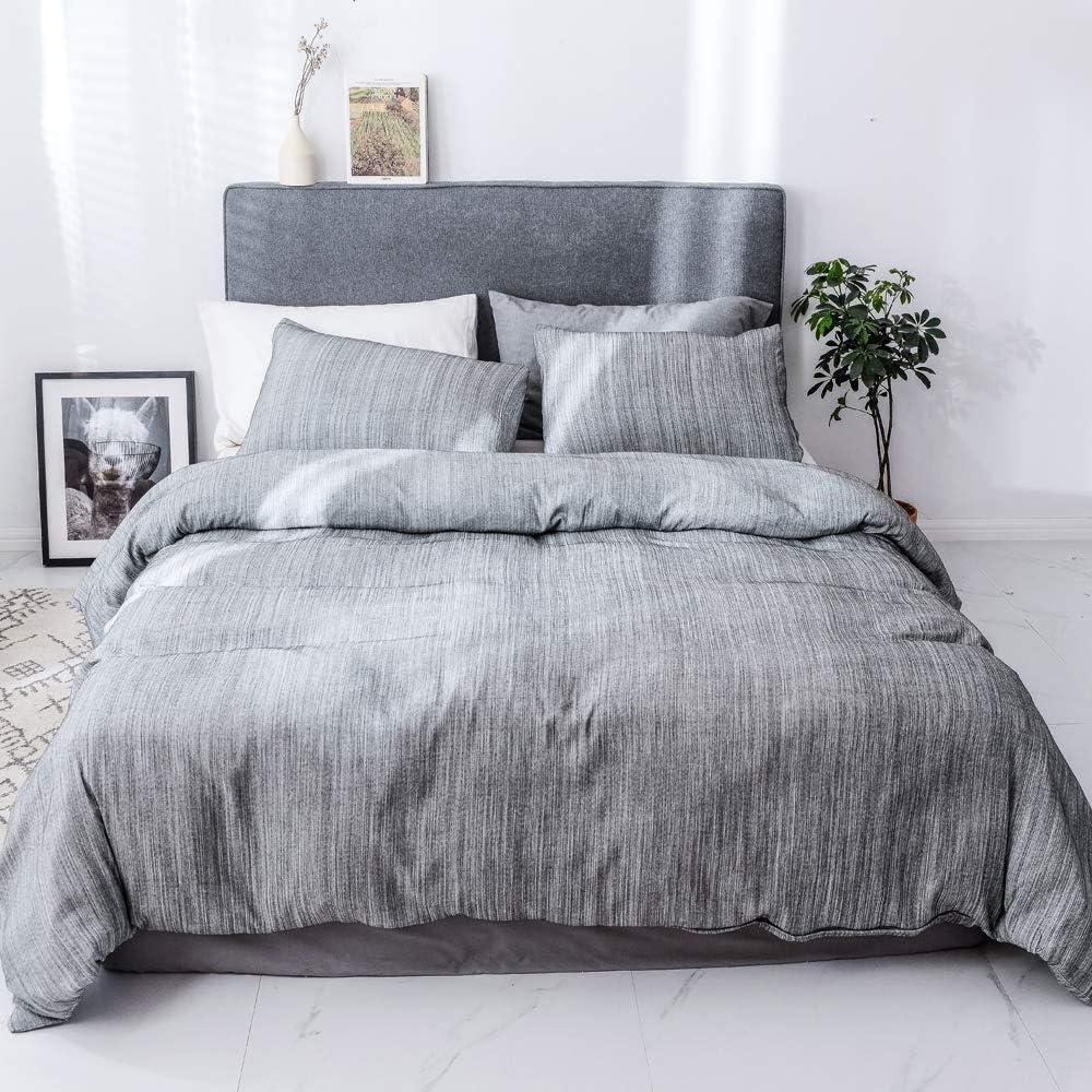 Smoofy Bedding Duvet Cover Set 3 Piece Set, Ultra Soft Brushed Microfiber Feel Like Linen, Grey, Queen