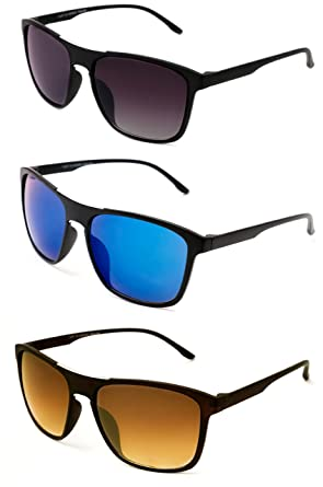 aa88cacf11d1 TheWhoop Super Combo UV Protected New Black, Blue And Brown Rectangular  Sunglasses For Men, Women, Girls, Boys: Amazon.in: Clothing & Accessories