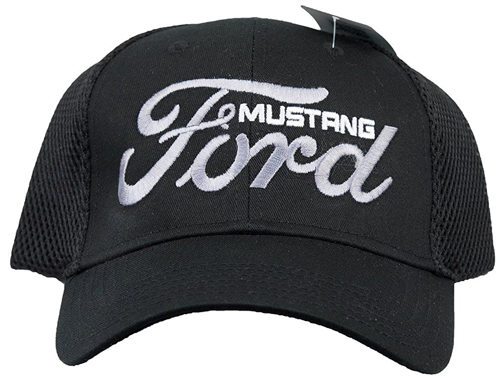 Amazon com ford mustang hat embroidered logo mesh back adjustable cap black clothing