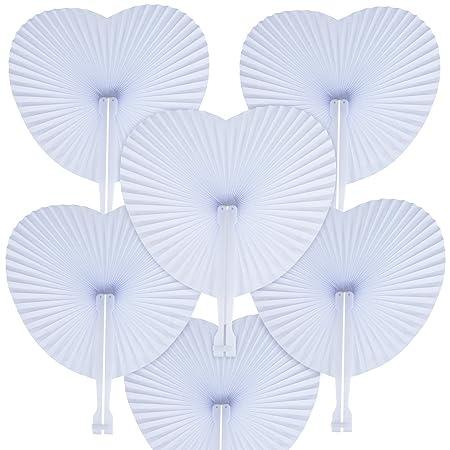 CozofLuv 48 STK. Handfächer Weiß Papierfächer Klappfächer Papier Hochzeit Party Faltbar Taschenfächer (Heart)