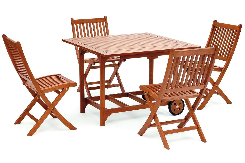Belardo Balkon-Set Minoa, Braun, Stuhl: 44 x 55 x 84 cm, Tisch: 100 x 100 x 72 cm