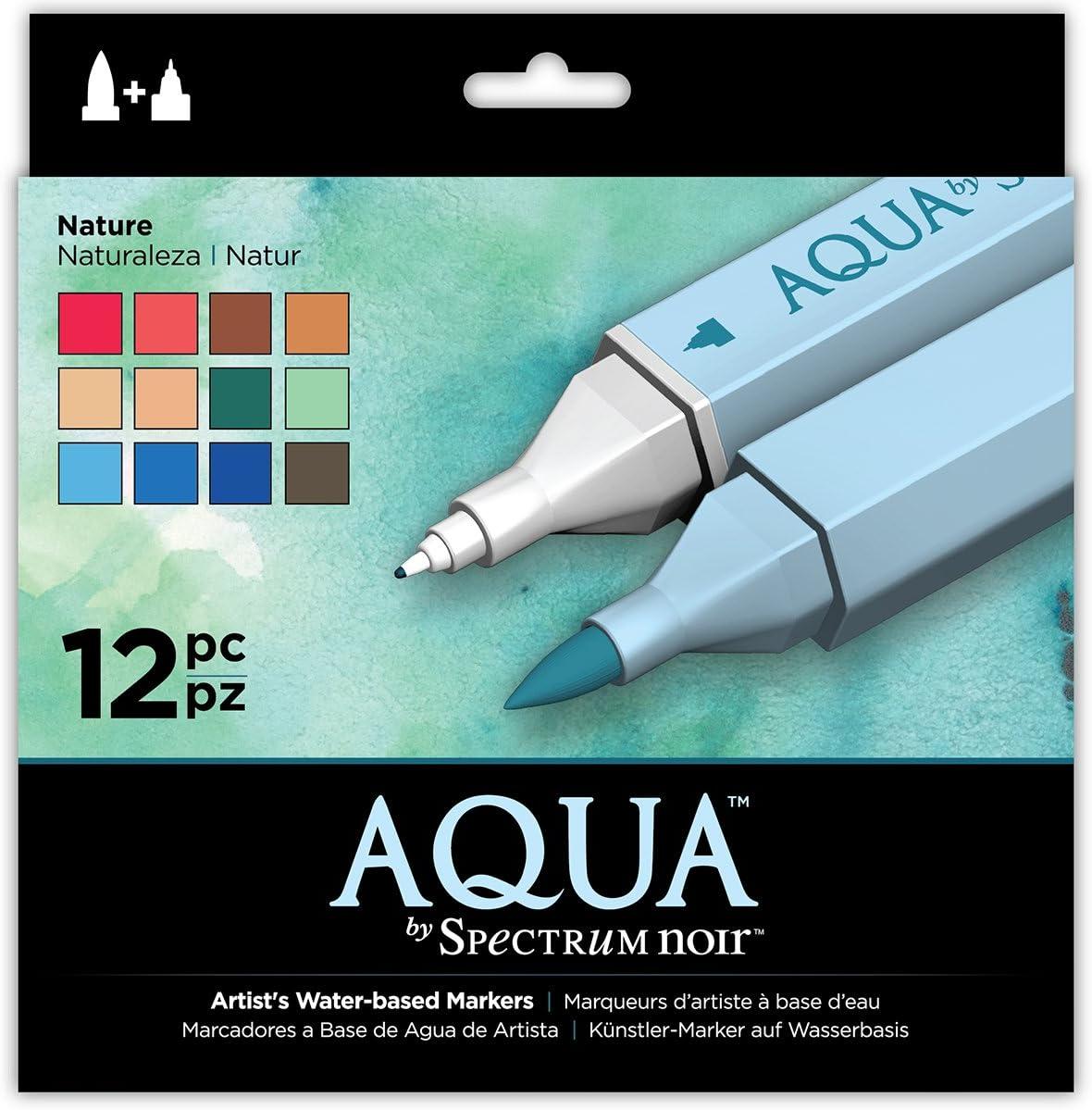 19 x 18.4 x 2.1 cm Spectrum Noir Aqua Basato Marcatori Doppio Pennino in Acqua Colorare Penne DellArtista Floreale Confezione da 12 Floral