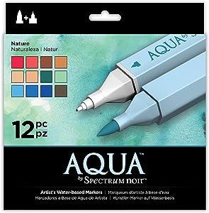 Spectrum Noir Aqua Artist's Water Based Dual Nib Marker Coloring Pens, Nature, Pack of 12