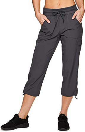 RBX Active Women's Fashion Lightweight Woven Drawstring Cargo Capri Pant with Pockets