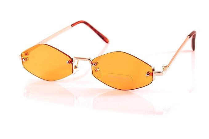 bafdaefefd7 FBL Rimless Slim Diamond Hexagonal Eye Candy Color Sunglasses A170 (Gold   Orange)