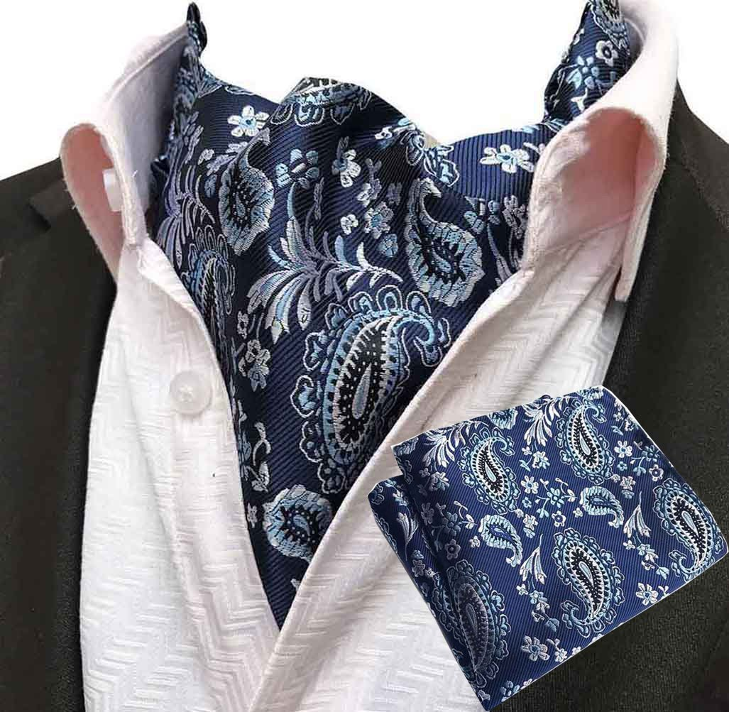 MOHSLEE Men 100% Silk Red Wine Paisley Ascot Woven Cravat Ties Pocket Square Set Qa394