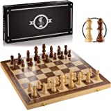 """Chess Armory Magnetic Chess Set 15"""" x 15""""- Inlaid Walnut Wooden Chess Set with Folding Chess Board, Staunton Chess…"""