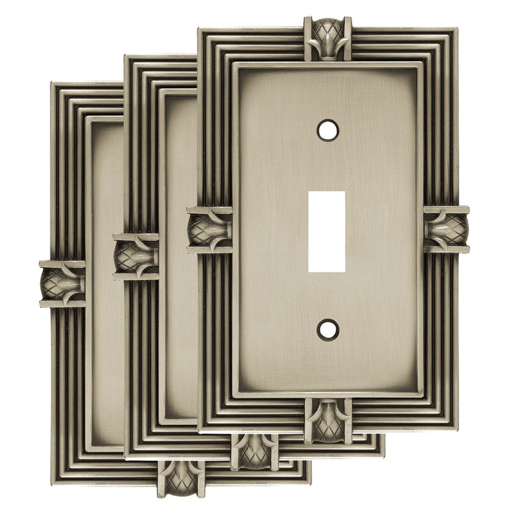 Franklin Brass W10272V-BSP-R Pineapple Single Toggle Switch Wall Plate, Brushed Satin Pewter, Pack of 3