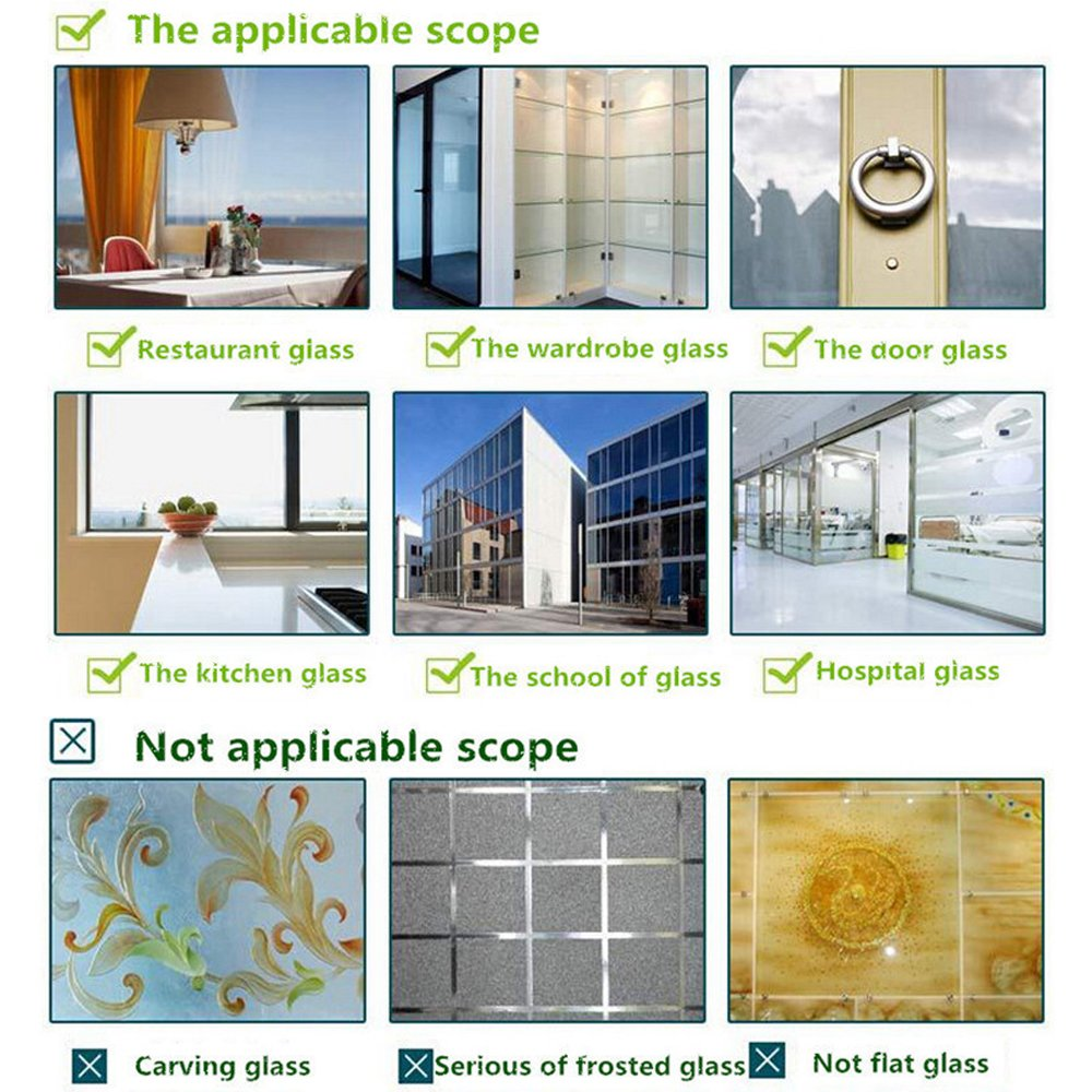 YOAYO Lámina de privacidad para ventanas de cristal, mate y decorativa, no adhesiva, esmerilada, para seguridad en el hogar, prevención de rayos UV, ...