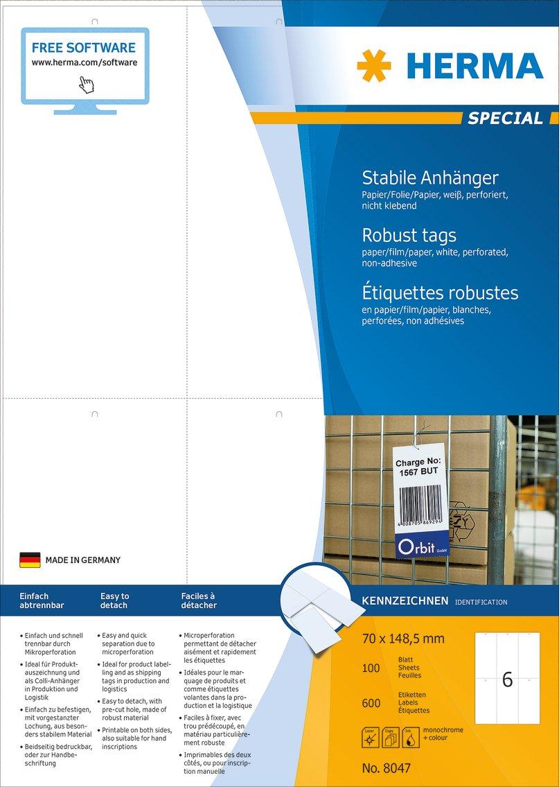 perforiert wei/ß 70 x 148,5 mm bedruckbar Herma 8047 H/änge Etiketten rei/ßfest 600 Warenanh/änger 100 Bogen DIN A4 Papier-Folie-Papier-Verbund Anh/änger nicht klebend