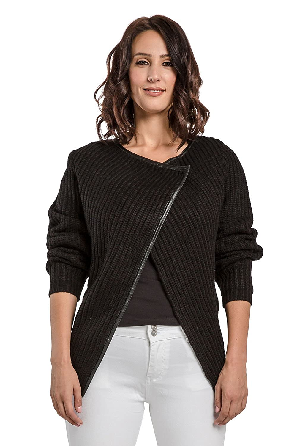 f7283f2f18 Miss Halladay Women's Cotton Cable Knit Sweater Jacket Wrap Front ...