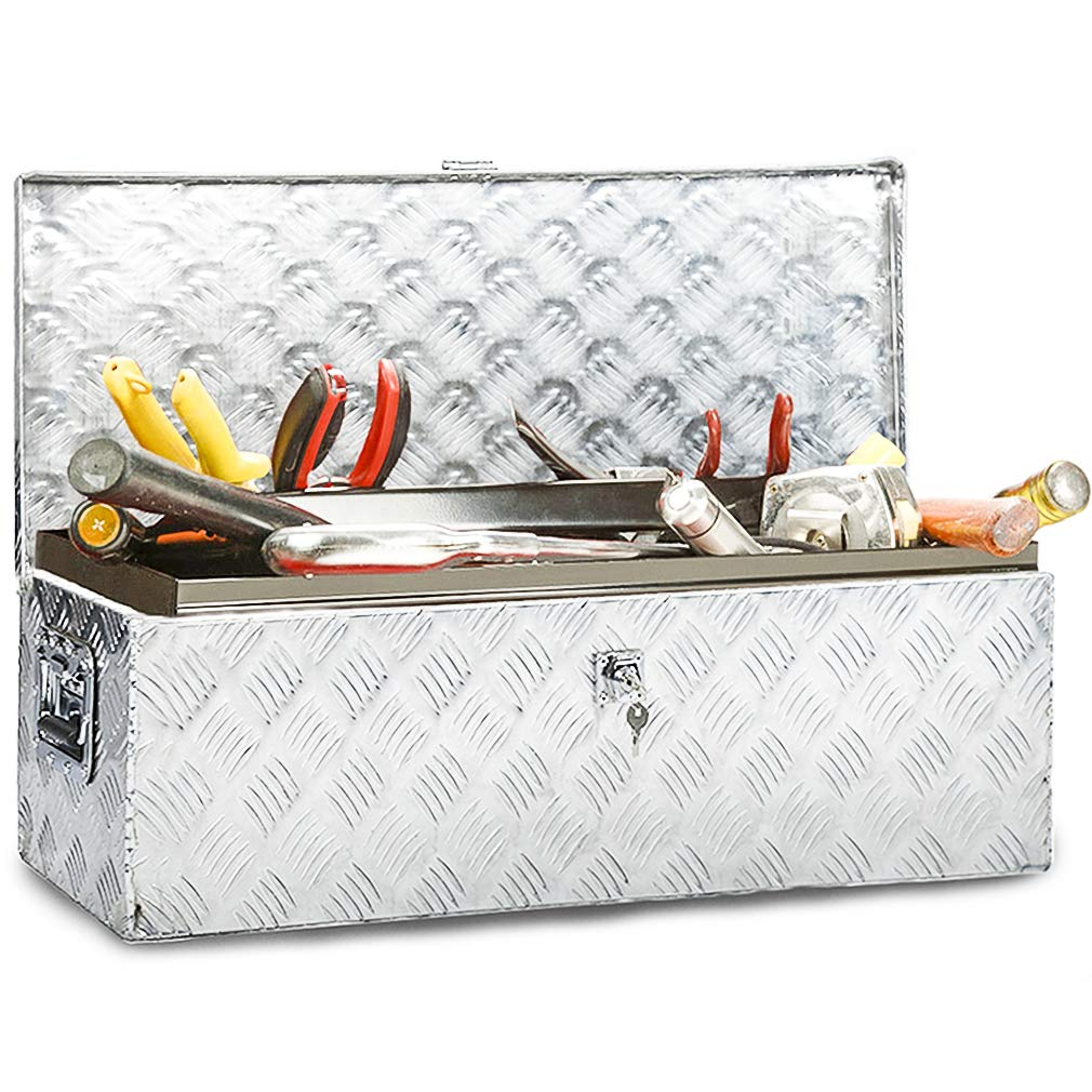 Truck Tool Box Aluminum Tool Box Camper Tool Box W/Handle and Lock for Pickup Truck/Trailer 30'' Silver