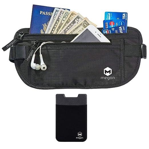 Riñonera Cinturón de Viaje para Dinero con Bloqueo RFID - Cartera de Cintura, Organizador de Efectivo, Titular de Pasaporte con Funda de Seguridad Oculta ...