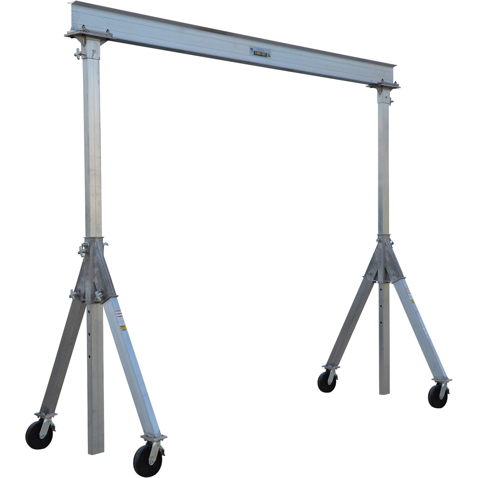 Vestil AHA-4-15-10 Aluminum Adjustable Gantry Crane, 4000 lb. Capacity, 15' Overall Beam, 96'' Usable Trolley Travel Distance, Under I-Beam Range 92''-120'', 132-1/8'' Height