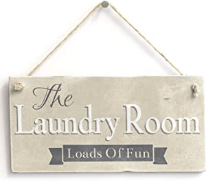 "Meijiafei The Laundry Room Loads of Fun - Rustic Home Decor Sign 10""x5"""